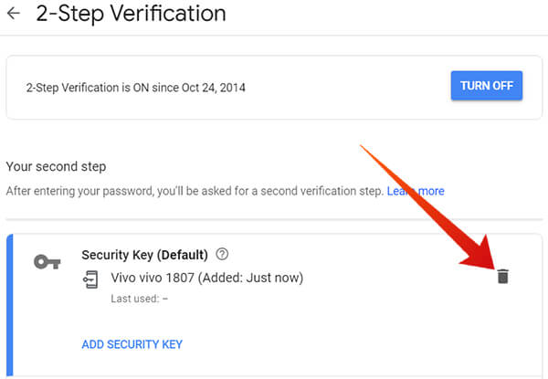 Remove Security Key Device from Google 2SV