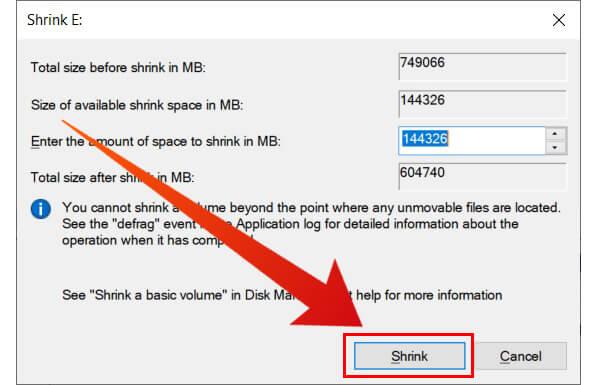 Shrink Volume to install Ubuntu from USB alongside Windows 10