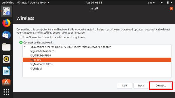connect Ubuntu installer to WiFi