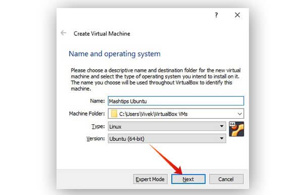 Name virtual machine