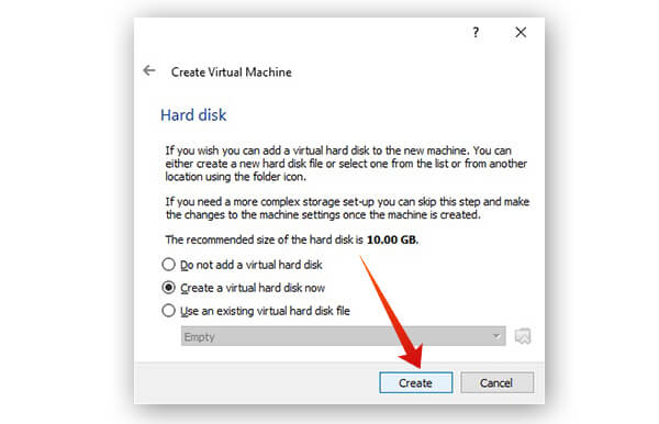 Create virtual hard disk to install Linux