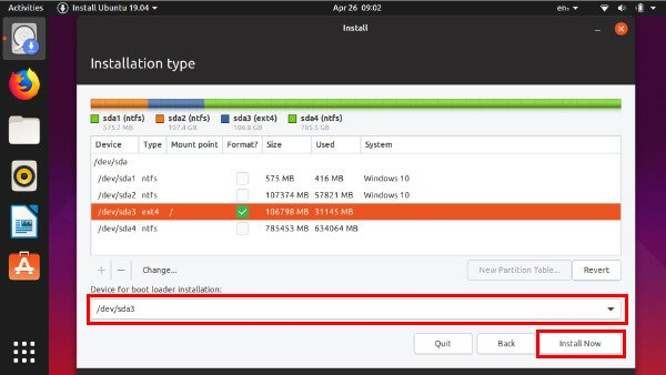 select partition and install Ubuntu