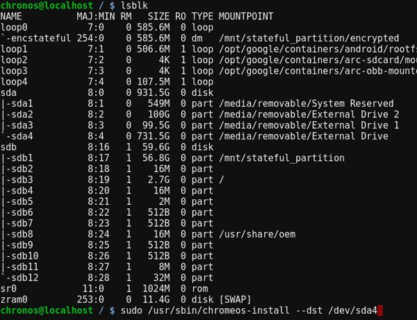 Fyde OS terminal commands
