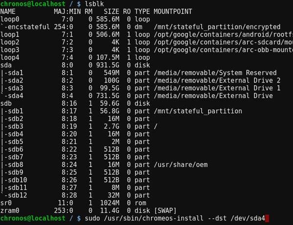 Fyde OS terminal commands