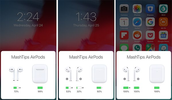AirPods Popup Window on iOS - Check AirPods Battery