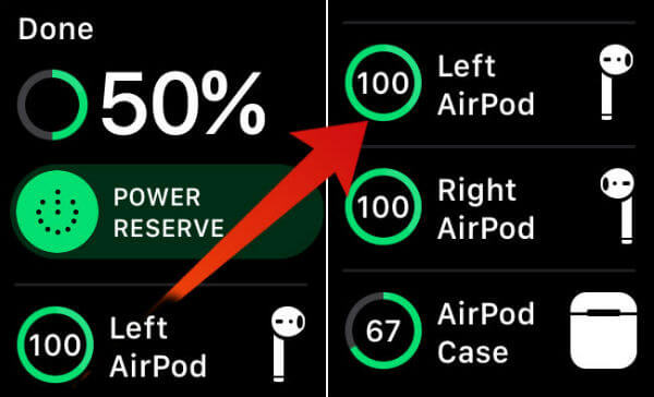 Display AirPods Battery Apple Watch