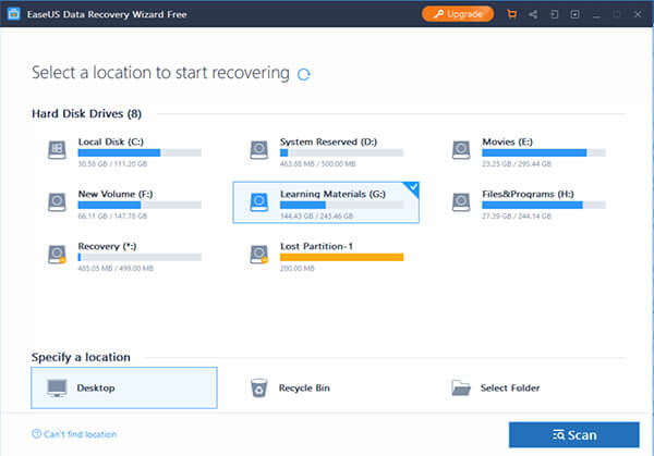 EaseUS Data Recovery Wizard Free Data Recovery Software Main Window