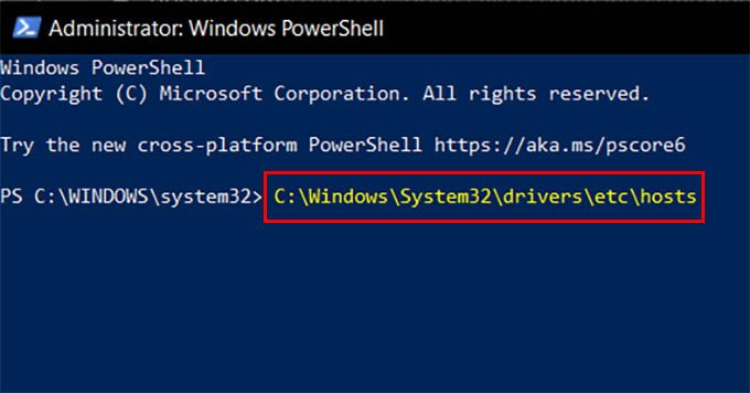 Host File Opening Command on Windows PowerShell