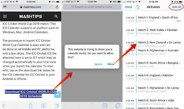 ICC Cricket World Cup Calendar iPhone