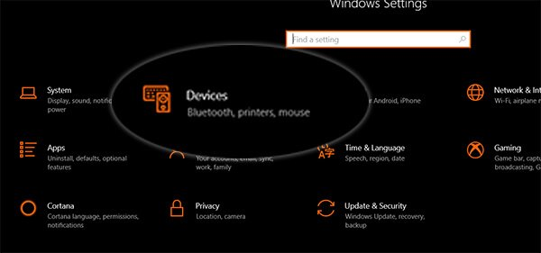 Open Settings in Windows 10 and Click Devices