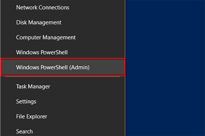 Open Windows PowerShell Admin on Windows 10