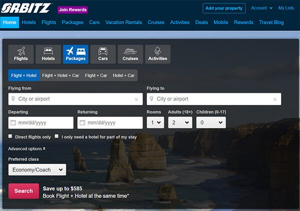 Orbitz Website Homepage