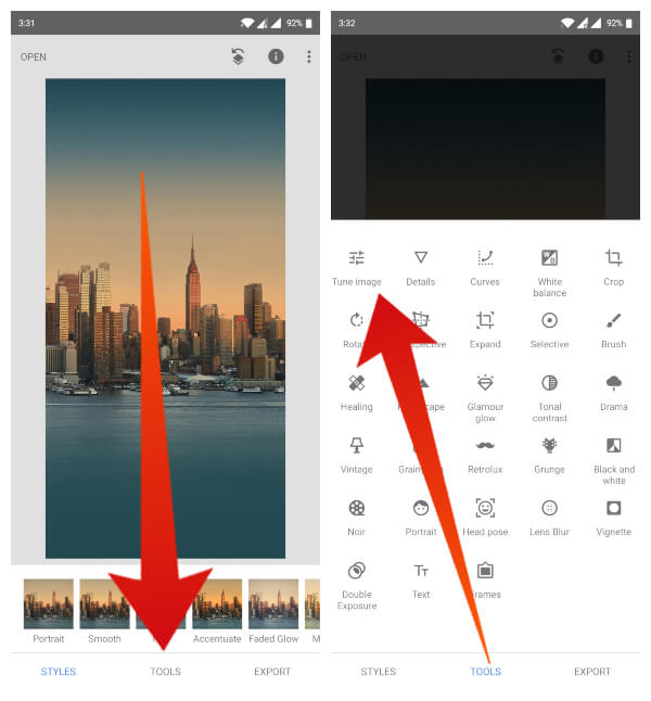 Snapseed Photo Editing - Edit pictures manually