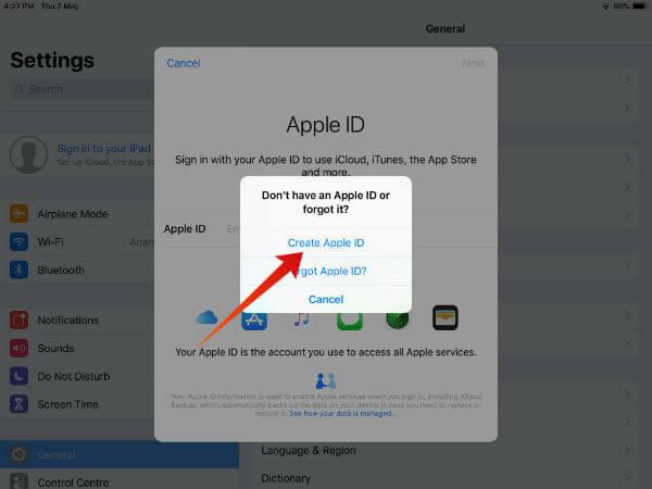 iPad create new apple id