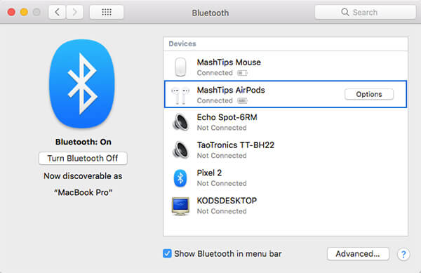 AirPods listed on Macbook Bluetooth Settings