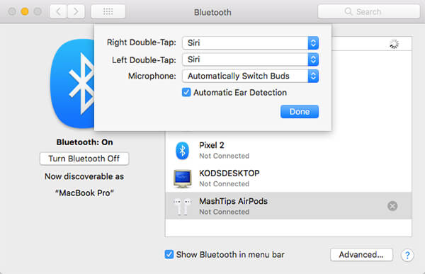 Change AirPods preferences from MacBook