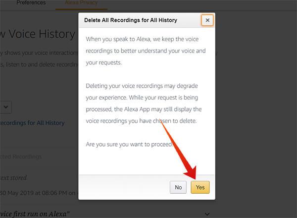 Confirm Voice Recording Deletion