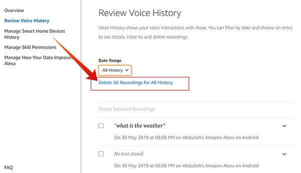 Delete All Voice Recording History on Amazon Alexa
