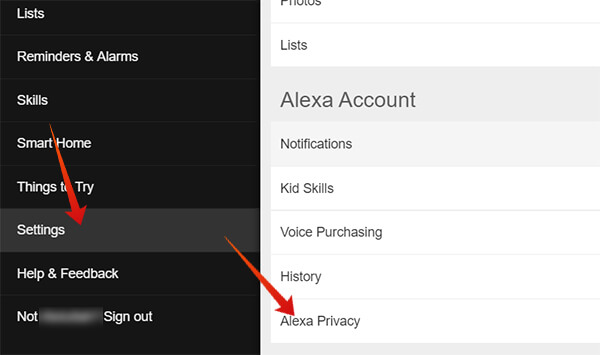 Enter Alexa Privacy from Alexa Settings