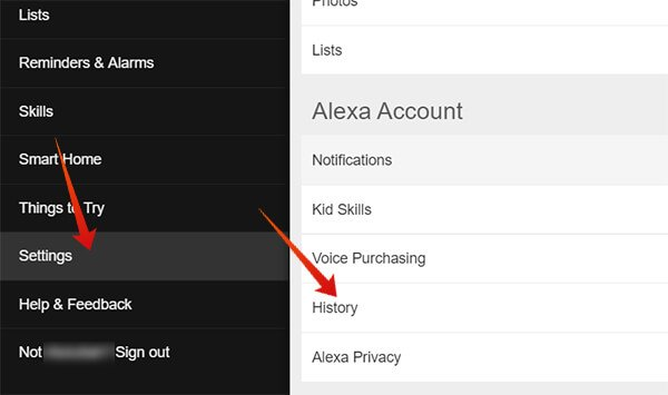 Enter History on Alexa Account Web