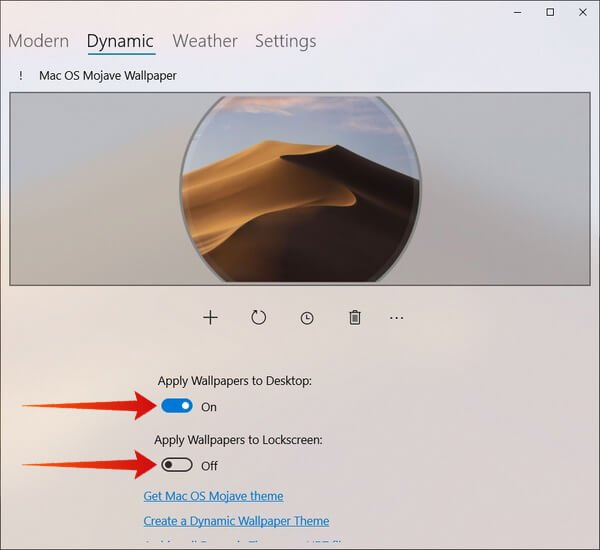 mac like dynamic desktop on Windows 10