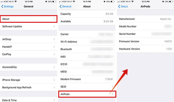 AirPods FIrmware Version Checking in Settings