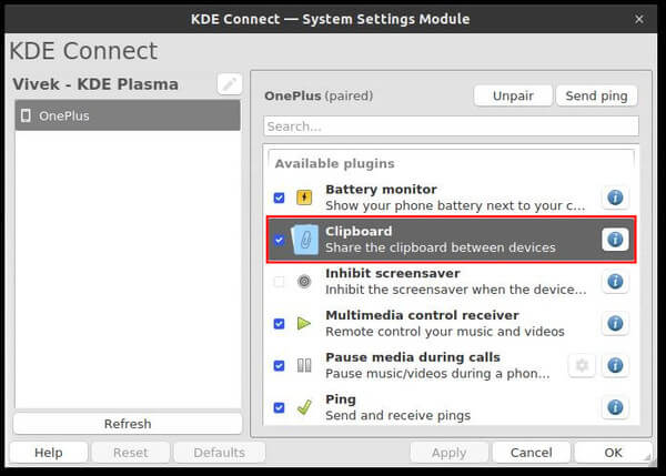 enable clipboard sharing in KDE Connect app