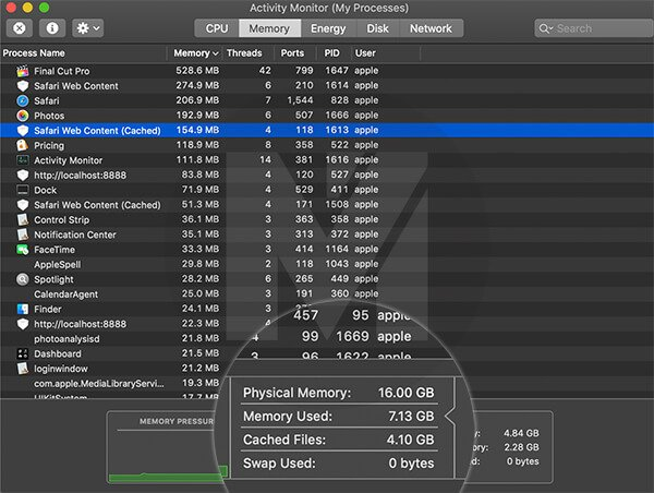 Memory Usage in 16GB 2019 MacBook Pro 13-inch