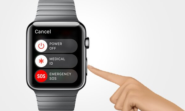 Press and hold the side button on Apple Watch