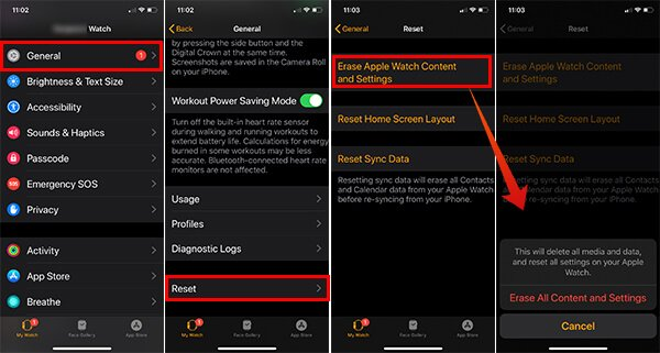 Reset Apple Watch using iPhone