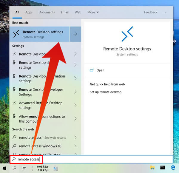 Launch Remote Desktop settings