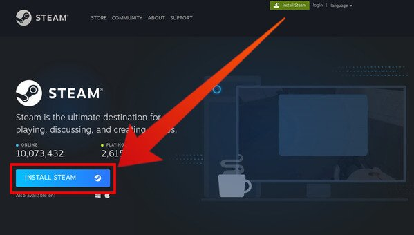 Download Steam on Linux from Steam website