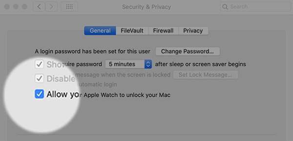 Enable Allow Apple Watch to Unlock Your Mac