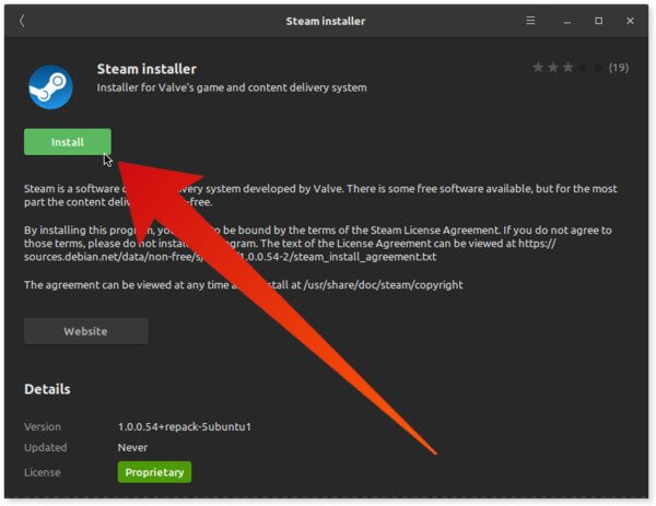 Steam installer Ubuntu Software Center