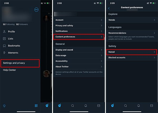 Mute Words on Twitter using Twitter Mobile