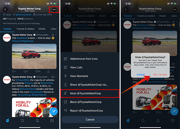 Mute an Account in Twitter Mobile