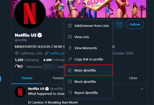 Mute an Account in Twitter