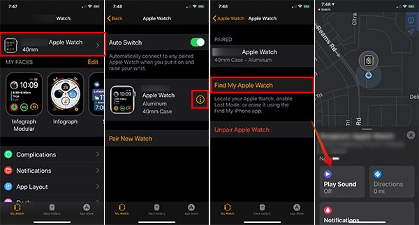 Play Sound on Apple Watch from Find My Apple Watch