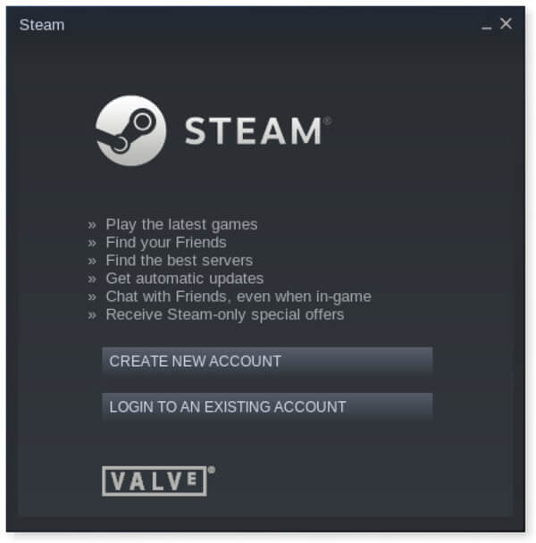 Login/Create account - Steam on Linux