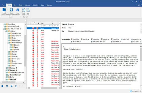 Stellar Outlook Repaired Data