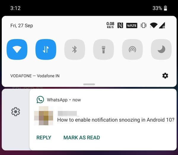 Notification on Android 10