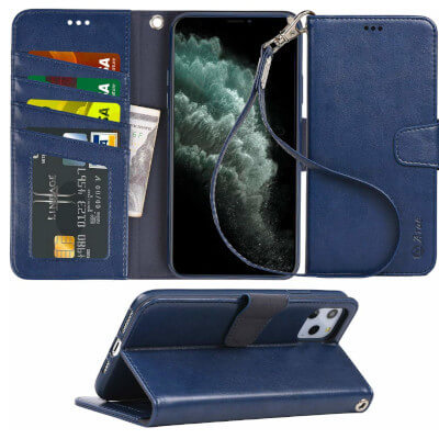 Arae Case for iPhone 11 Pro Max PU Leather Wallet Case Cover