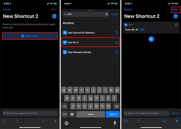 Create New Wi-Fi Turn Off Shortcut on IOS
