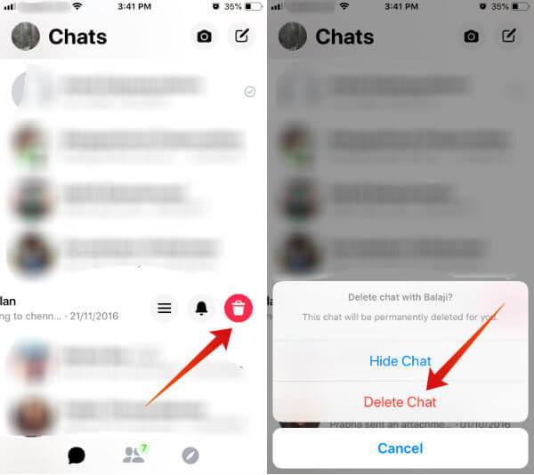 Facebook delete entire chat iPhone