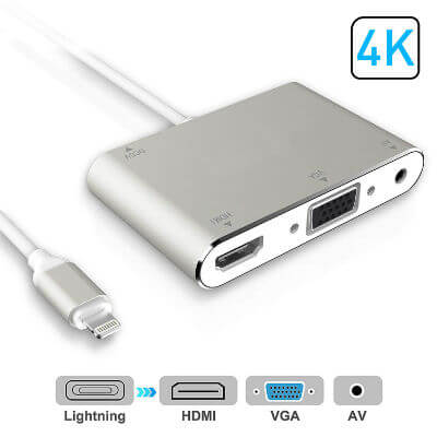Lightning Port HDMI VGA AV Adapter