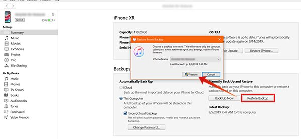 Restore iPhone from iTunes Backup