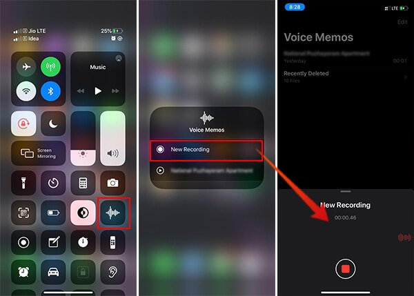 Start New Voice Memo Recording from iOS 13 Control Center