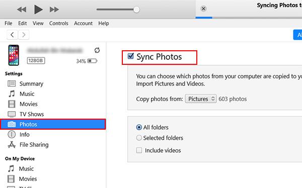 Sync Photos with iTunes