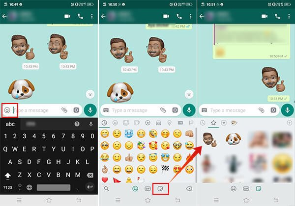 Use Memoji Stickers on WhatsApp on Android