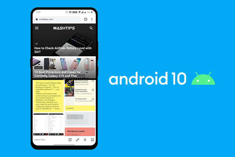 Enable split screen Android10